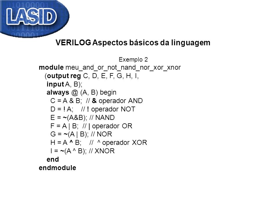 VERILOG Aspectos básicos da linguagem