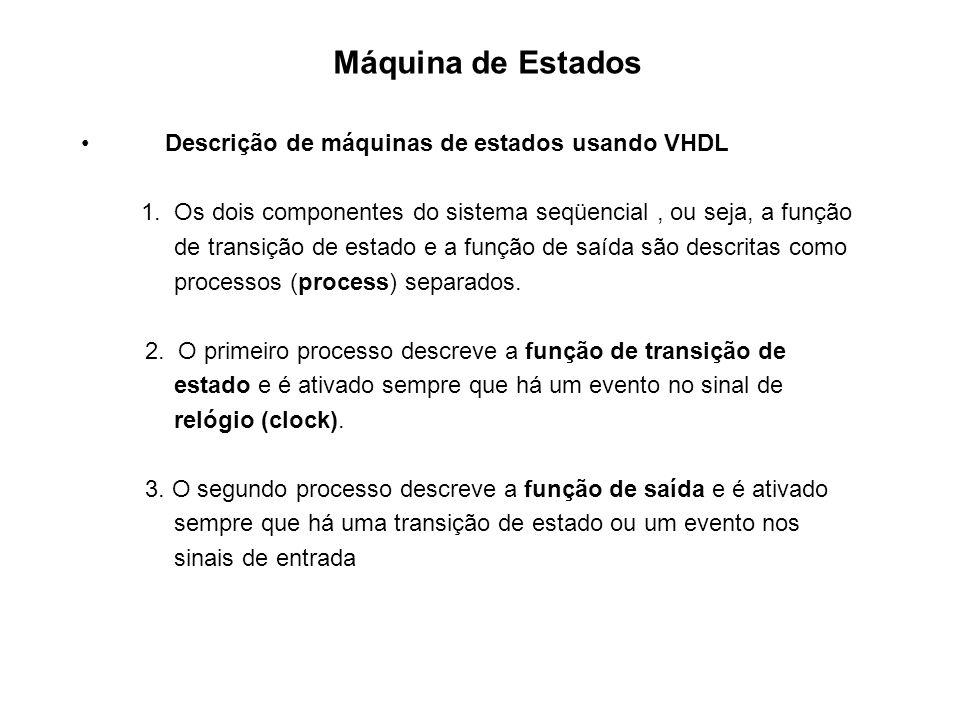 Máquina de Estados Descrição de máquinas de estados usando VHDL