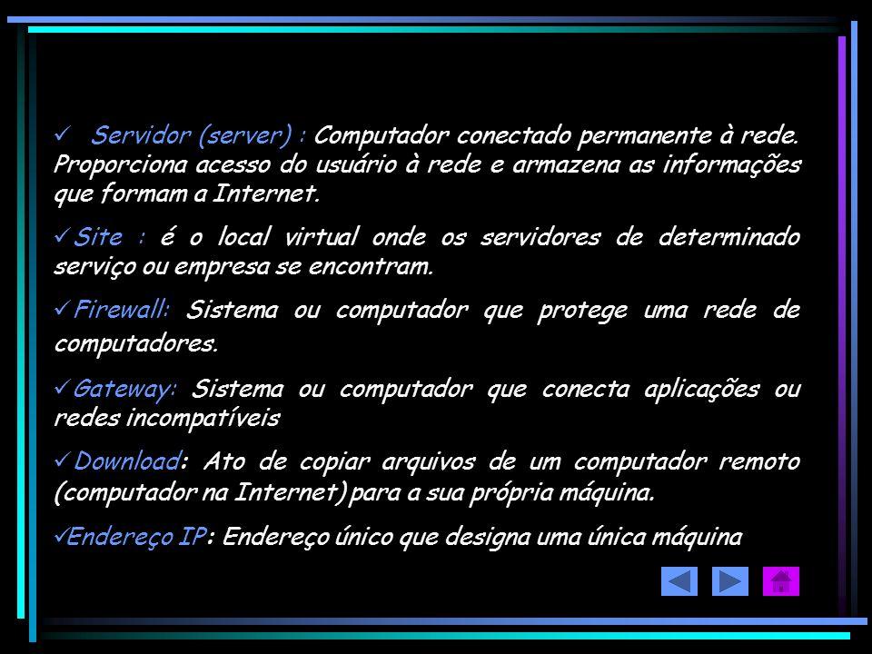 Servidor (server) : Computador conectado permanente à rede