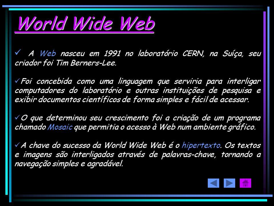 World Wide Web A Web nasceu em 1991 no laboratório CERN, na Suíça, seu criador foi Tim Berners-Lee.
