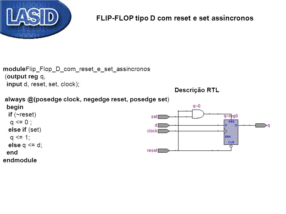 FLIP-FLOP tipo D com reset e set assíncronos