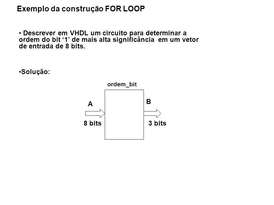 Exemplo da construção FOR LOOP