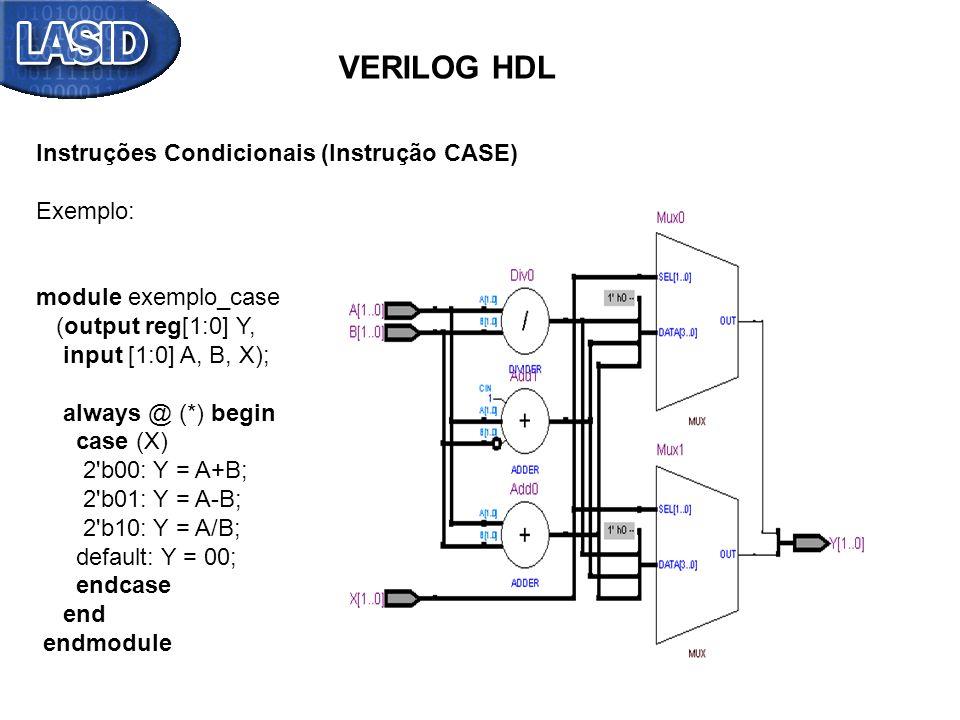 VERILOG HDL Instruções Condicionais (Instrução CASE) Exemplo:
