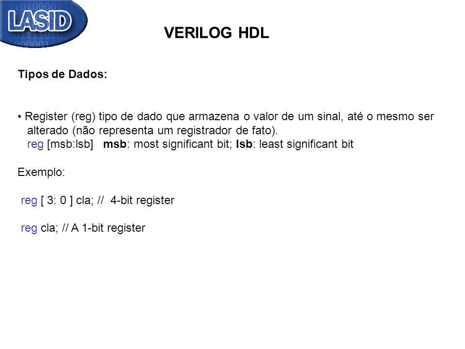 VERILOG HDL Tipos de Dados: