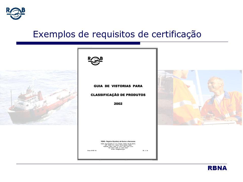 Exemplos de requisitos de certificação