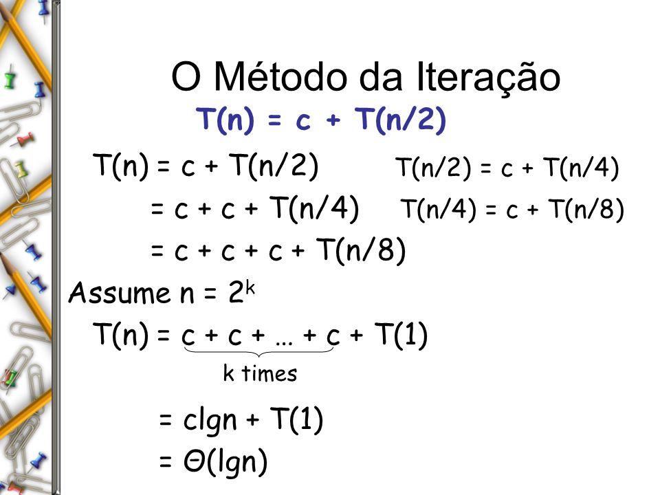 O Método da Iteração T(n) = c + T(n/2) = c + c + T(n/4)