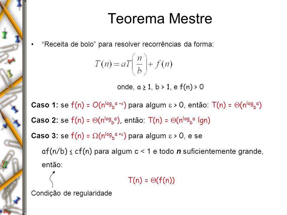 Teorema Mestre Receita de bolo para resolver recorrências da forma: onde, a ≥ 1, b > 1, e f(n) > 0.