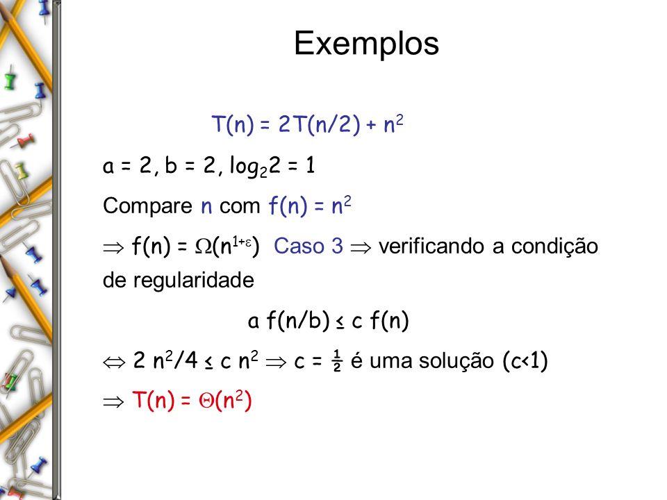 Exemplos T(n) = 2T(n/2) + n2 a = 2, b = 2, log22 = 1