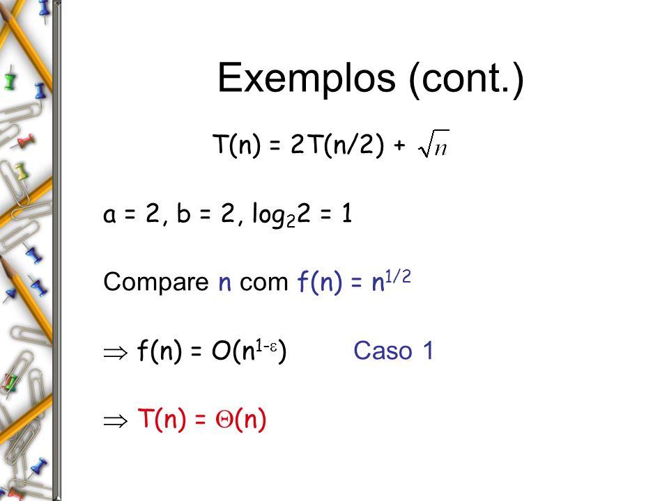 Exemplos (cont.) T(n) = 2T(n/2) + a = 2, b = 2, log22 = 1
