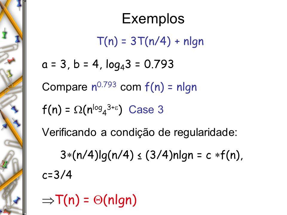 Exemplos T(n) = (nlgn) T(n) = 3T(n/4) + nlgn
