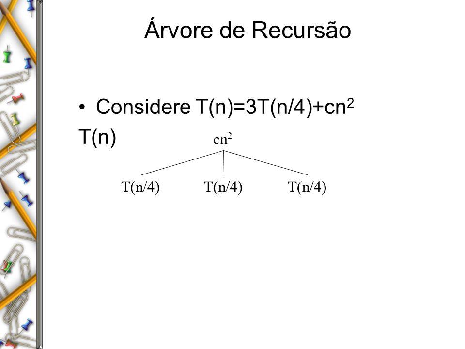 Árvore de Recursão Considere T(n)=3T(n/4)+cn2 T(n) cn2 T(n/4) T(n/4)
