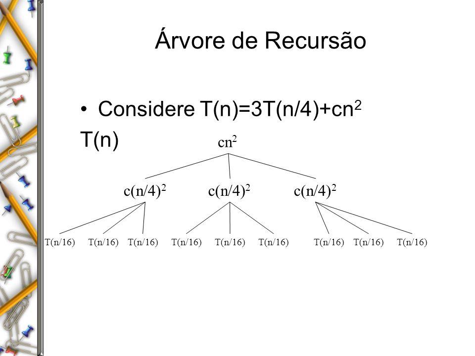 Árvore de Recursão Considere T(n)=3T(n/4)+cn2 T(n) cn2 c(n/4)2 c(n/4)2