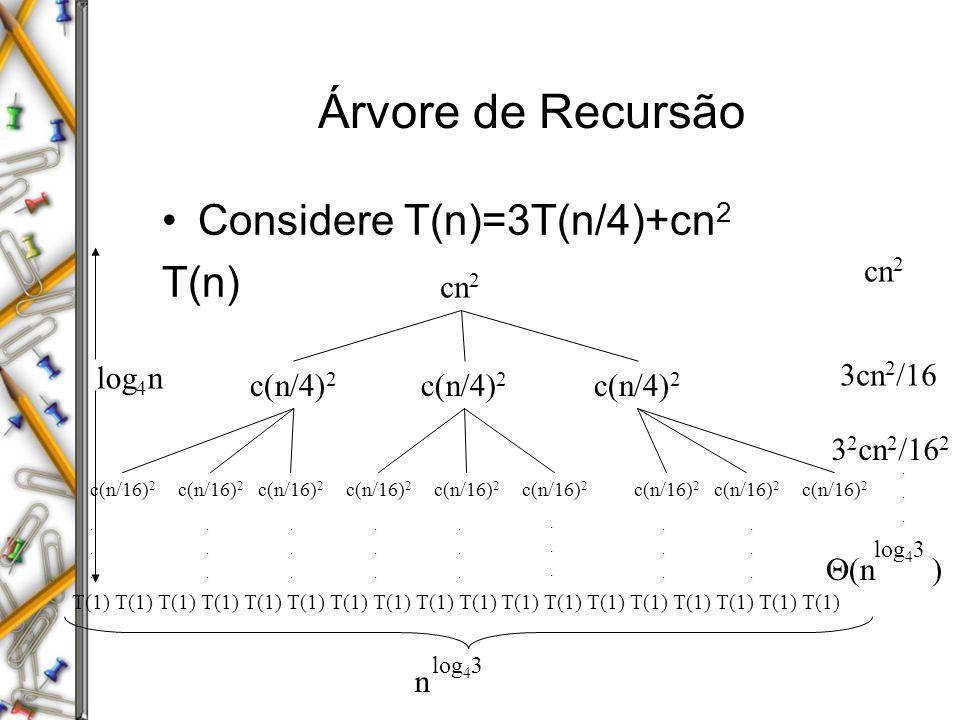 Árvore de Recursão Considere T(n)=3T(n/4)+cn2 T(n) cn2 cn2 log4n
