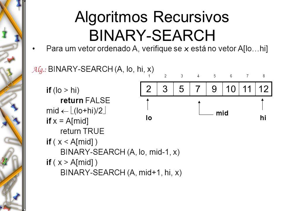 Algoritmos Recursivos BINARY-SEARCH