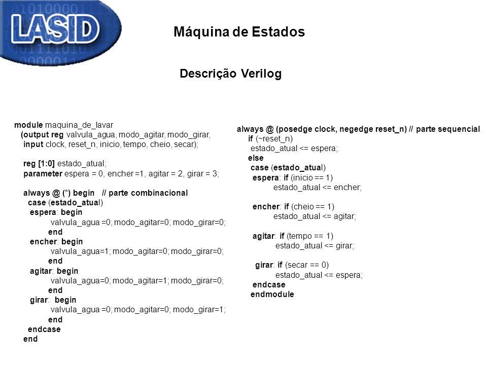 Máquina de Estados Descrição Verilog module maquina_de_lavar