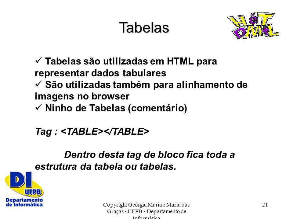 Tabelas Tabelas são utilizadas em HTML para representar dados tabulares.  São utilizadas também para alinhamento de imagens no browser.