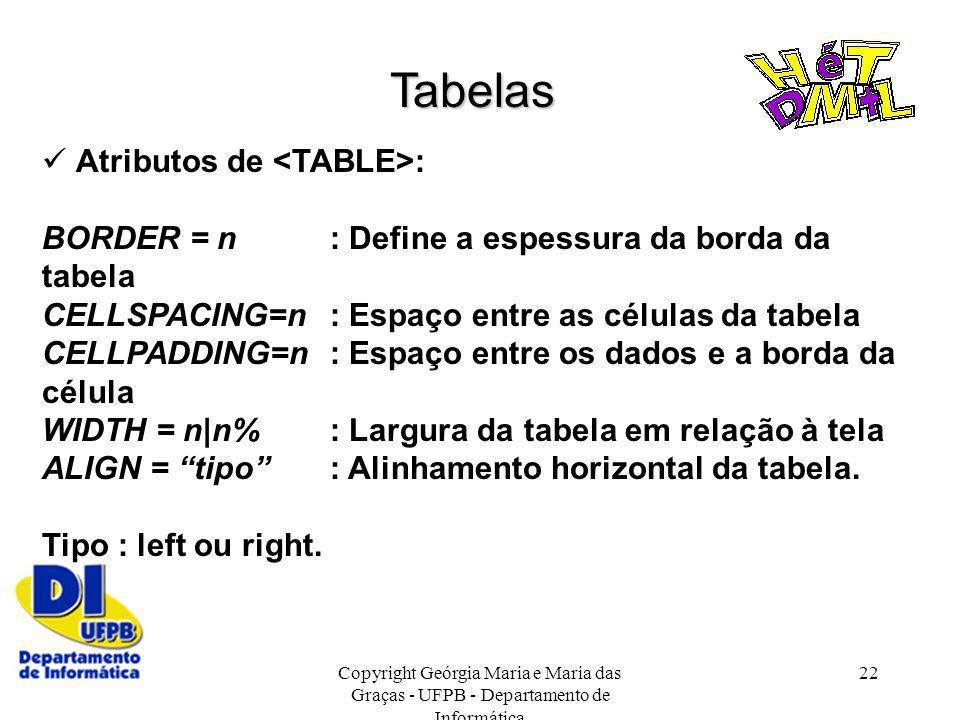 Tabelas  Atributos de <TABLE>: