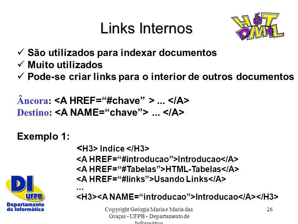Links Internos  São utilizados para indexar documentos