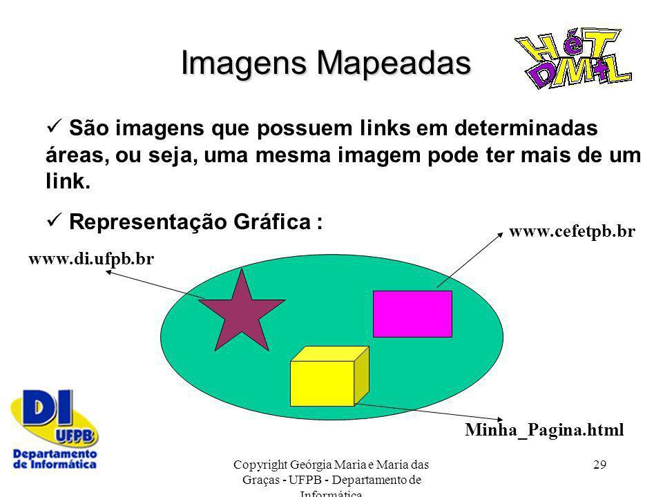Imagens Mapeadas  São imagens que possuem links em determinadas áreas, ou seja, uma mesma imagem pode ter mais de um link.
