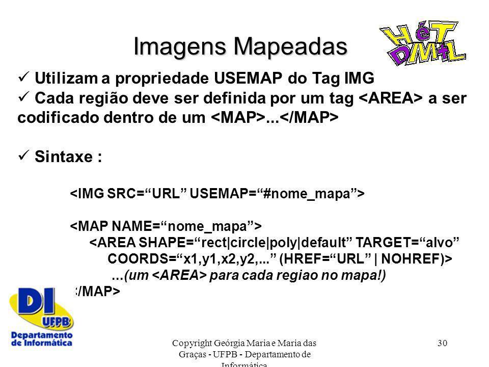 Imagens Mapeadas  Utilizam a propriedade USEMAP do Tag IMG