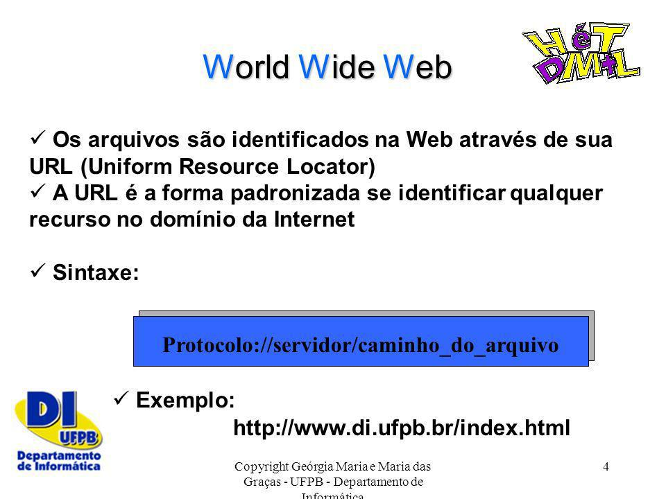 World Wide Web  Os arquivos são identificados na Web através de sua URL (Uniform Resource Locator)