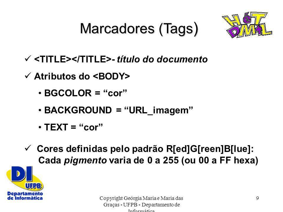 Marcadores (Tags)  <TITLE></TITLE>- título do documento