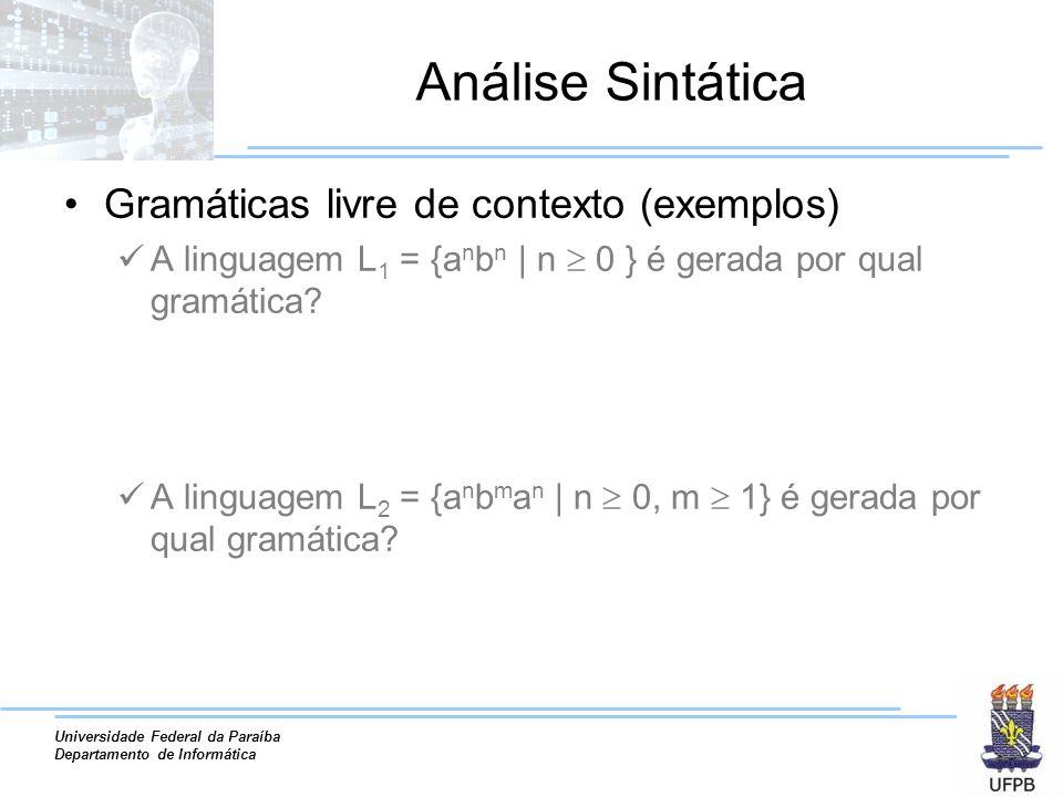 Análise Sintática Gramáticas livre de contexto (exemplos)