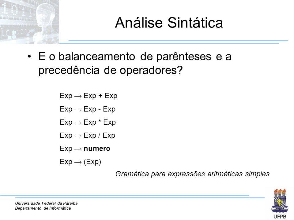 Análise Sintática E o balanceamento de parênteses e a precedência de operadores Exp  Exp + Exp. Exp  Exp - Exp.