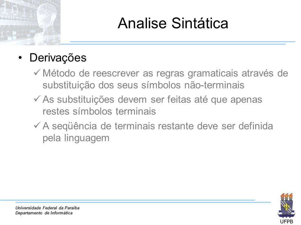 Analise Sintática Derivações