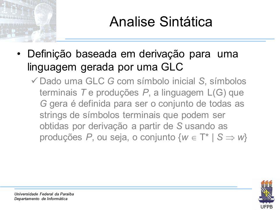 Analise Sintática Definição baseada em derivação para uma linguagem gerada por uma GLC.