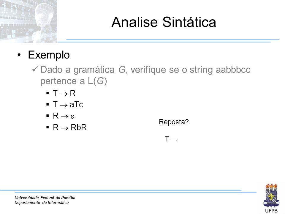 Analise Sintática Exemplo