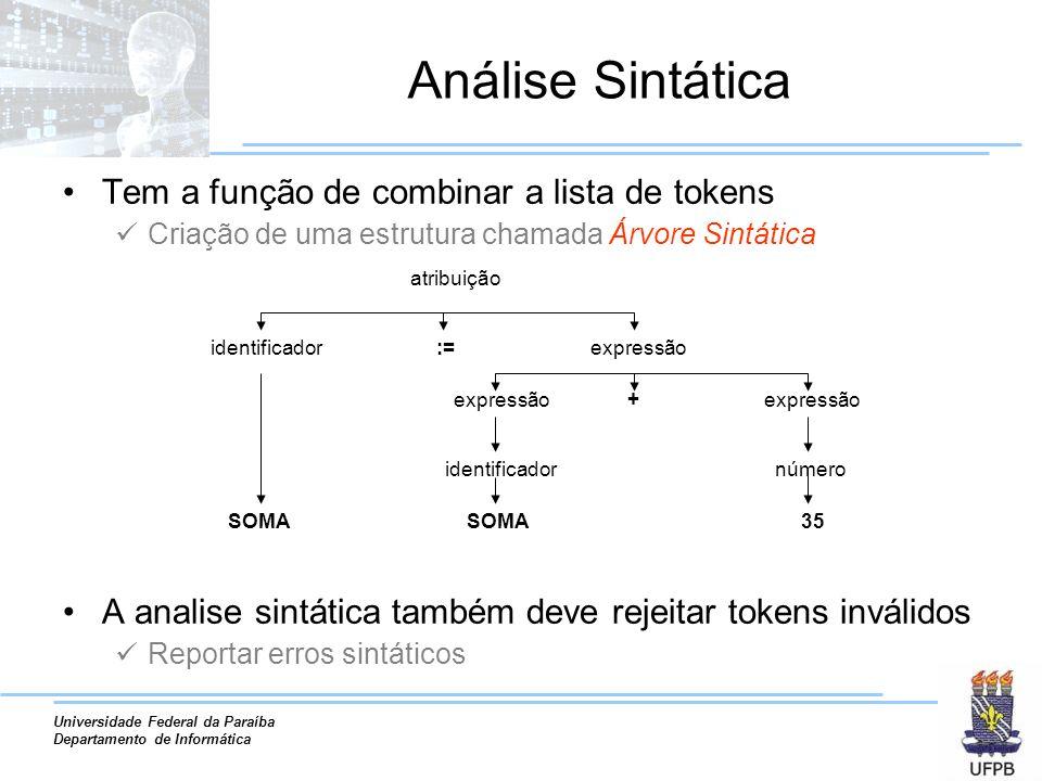 Análise Sintática Tem a função de combinar a lista de tokens