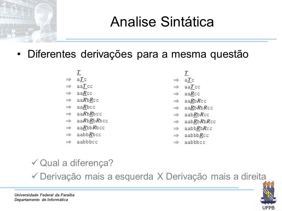 Analise Sintática Diferentes derivações para a mesma questão
