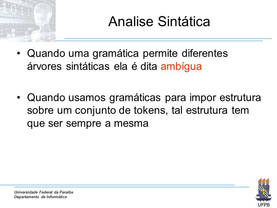 Analise Sintática Quando uma gramática permite diferentes árvores sintáticas ela é dita ambígua.