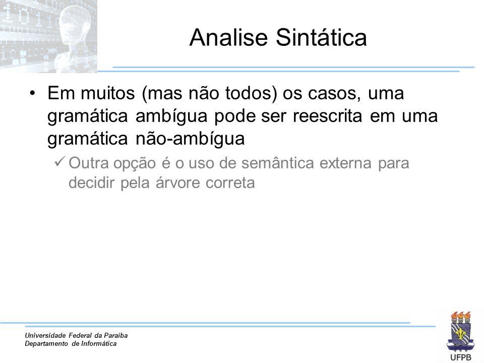 Analise Sintática Em muitos (mas não todos) os casos, uma gramática ambígua pode ser reescrita em uma gramática não-ambígua.