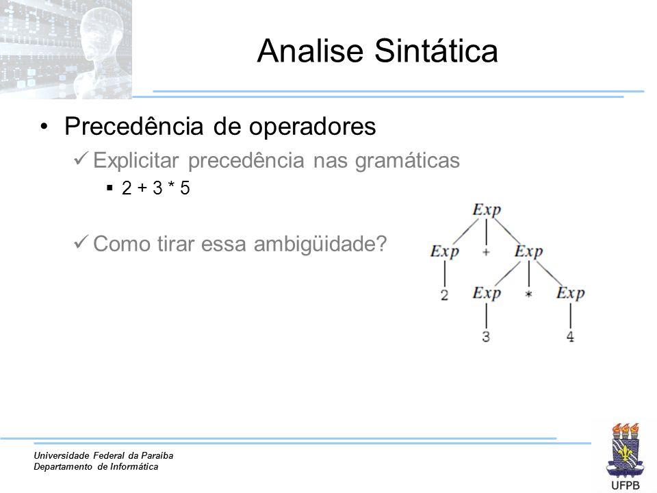 Analise Sintática Precedência de operadores