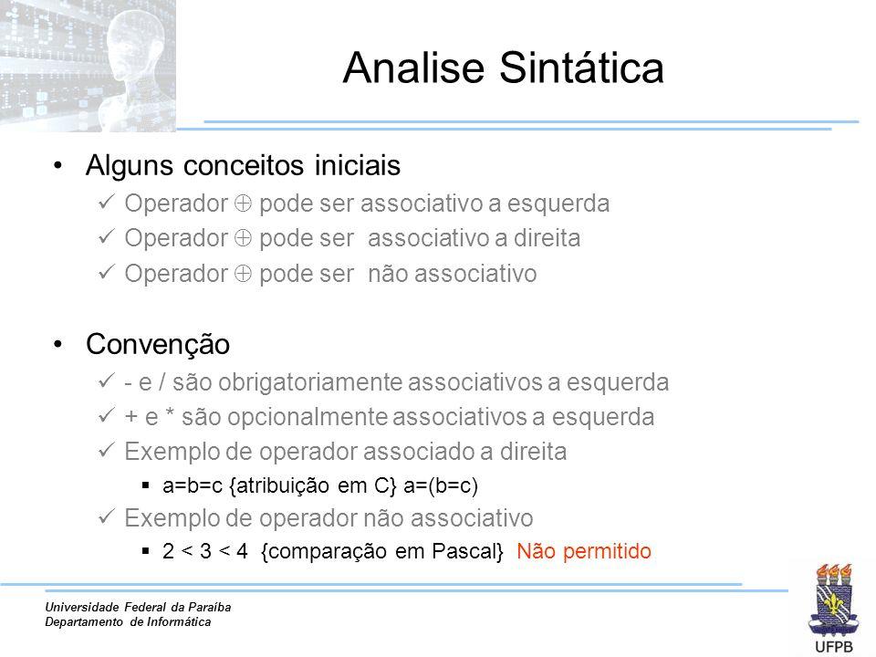 Analise Sintática Alguns conceitos iniciais Convenção