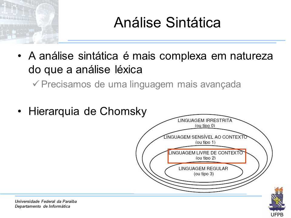 Análise Sintática A análise sintática é mais complexa em natureza do que a análise léxica. Precisamos de uma linguagem mais avançada.