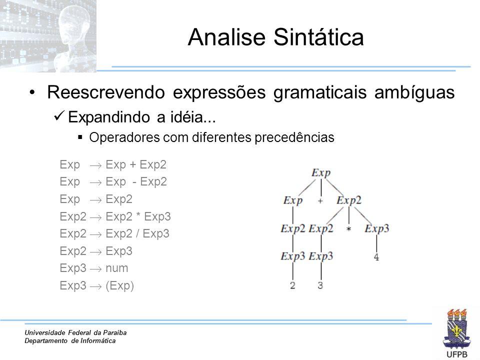 Analise Sintática Reescrevendo expressões gramaticais ambíguas