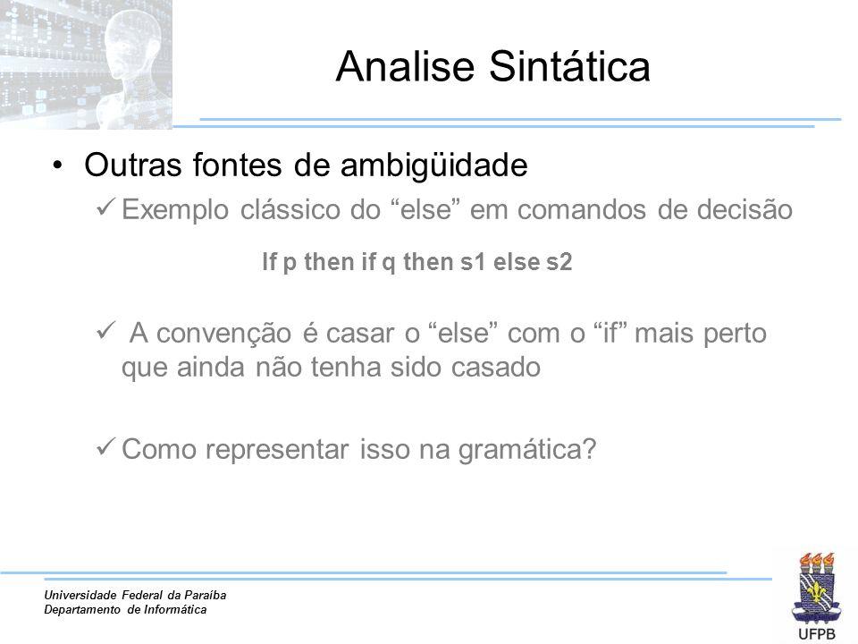 Analise Sintática Outras fontes de ambigüidade
