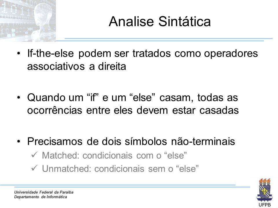 Analise Sintática If-the-else podem ser tratados como operadores associativos a direita.