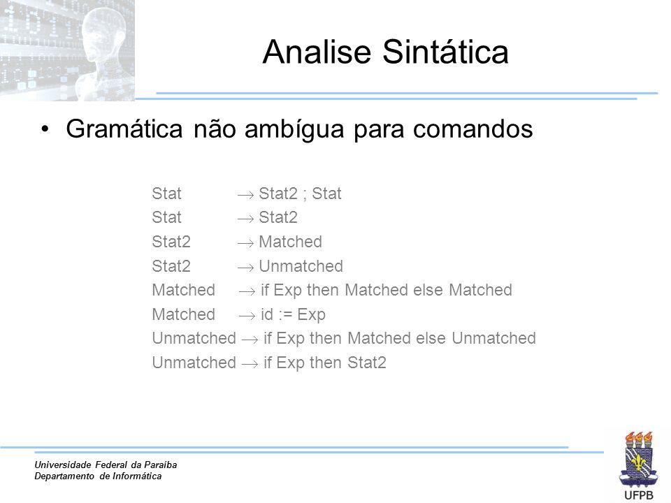 Analise Sintática Gramática não ambígua para comandos