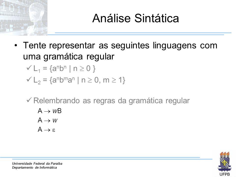Análise Sintática Tente representar as seguintes linguagens com uma gramática regular. L1 = {anbn | n  0 }