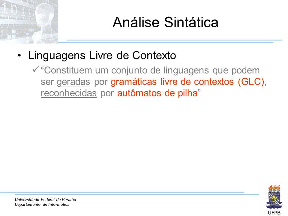 Análise Sintática Linguagens Livre de Contexto
