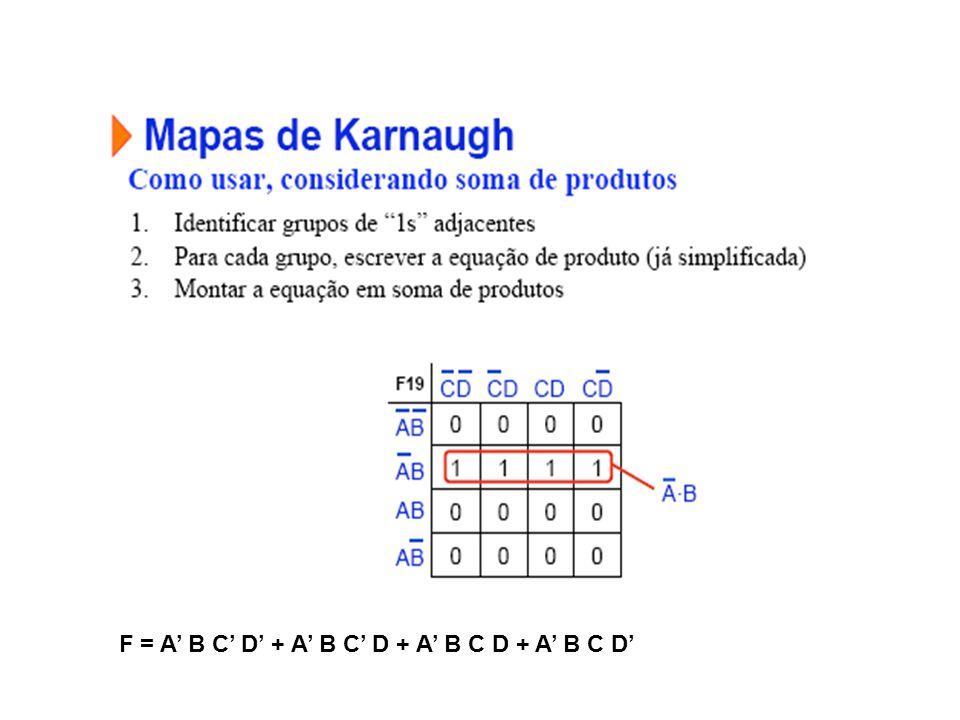 F = A' B C' D' + A' B C' D + A' B C D + A' B C D'