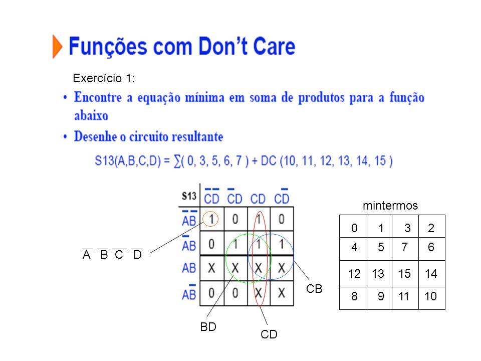 Exercício 1: mintermos. 1 3 2. 4 5 7 6. A B C D. 12 13 15 14.