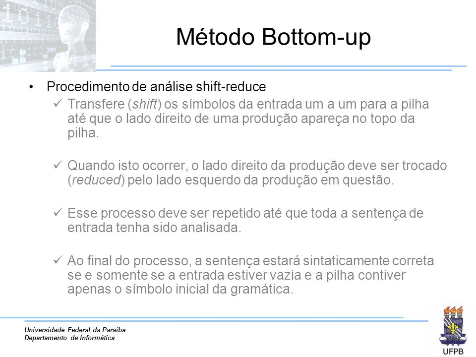 Método Bottom-up Procedimento de análise shift-reduce