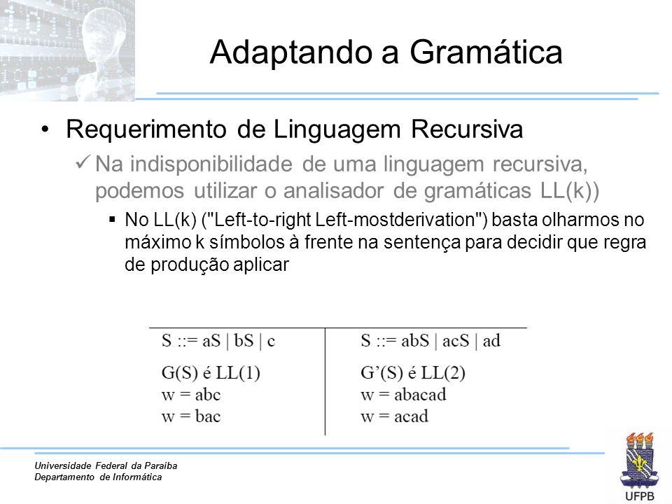 Adaptando a Gramática Requerimento de Linguagem Recursiva