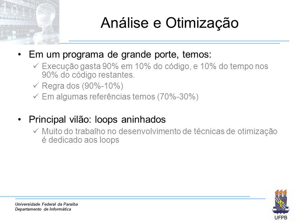 Análise e Otimização Em um programa de grande porte, temos: