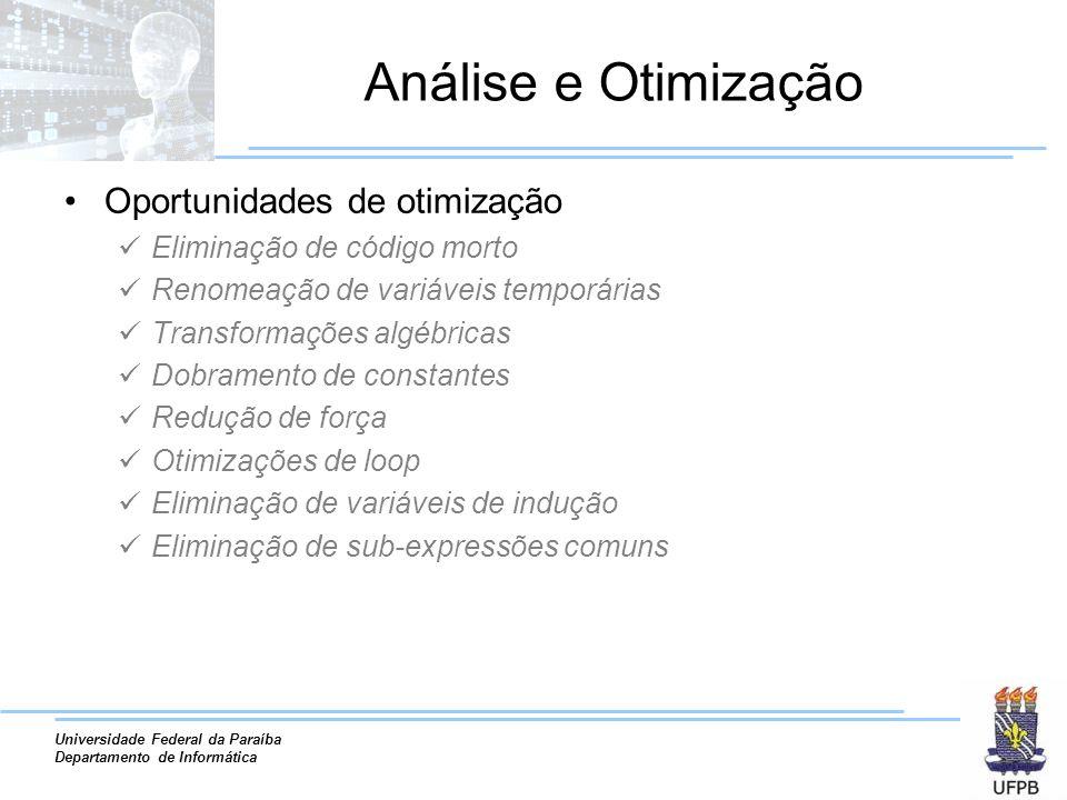 Análise e Otimização Oportunidades de otimização